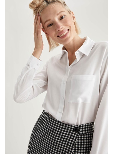 DeFacto Basic Dokuma Gömlek Beyaz